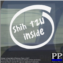 1 x Shih Tzu Inside-Window,Car,Van,Sticker,Sign,Adhesive,Dog,Pet,On,Board,Lead